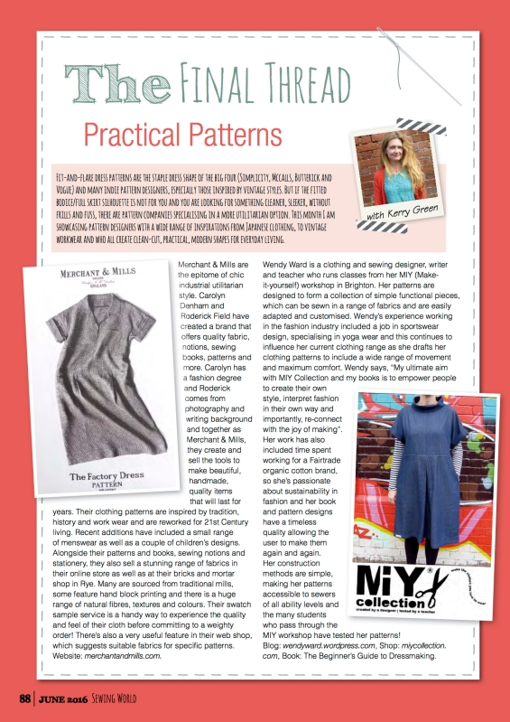 MIY Collection patterns in Sewing World magazine | Wendy Ward