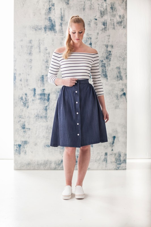 how to line a button through skirt