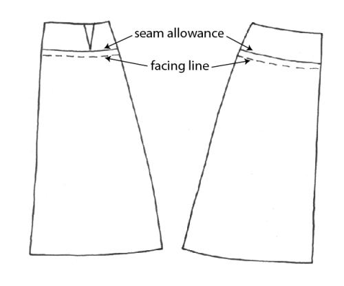 how to add a lining to a skirt with a waist facing